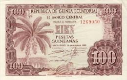 BILLET # GUINEE EQUATORIALE # 100 PESETAS GUINEANAS  # 1969 # PICK 1  #  CIRCULE # - Equatoriaal-Guinea