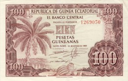 BILLET # GUINEE EQUATORIALE # 100 PESETAS GUINEANAS  # 1969 # PICK 1  #  CIRCULE # - Guinée Equatoriale