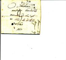 CHALONS-sur-SAONE  70  ( Griffe Linéaire De 1826 )  Lettre à 3 Décimes - 1801-1848: Precursors XIX