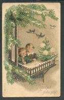 CHRISTMAS  CHILDREN FEEDING BIRDS , EMBOSSED  ,  OLD POSTCARD, 0 - Weihnachten
