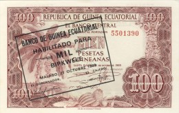 BILLET # GUINEE EQUATORIALE # 1000 BIPKWELE SURCHARGE 100 PESETAS  # 1980 # PICK 13  #  NEUF # - Equatoriaal-Guinea