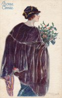 Illustrée Signée BOMPARD : Femme Au Manteau De Castor Et Au Bouquet De Houx - Femmes