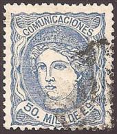 ESPAÑA 1870 - Edifil #107b - VFU - 1868-70 Provisional Government