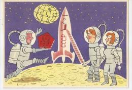 Astronomie - Cosmos - Fusée Cccp -lune -  1963 - Russe - Bonne Année - Astronaute - Cosmonaute - Astronomia