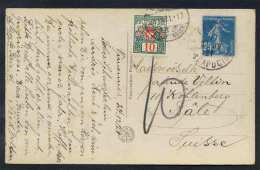 FRANCE - PARIS / 1921 CARTE POSTALE TAXEE EN SUISSE (ref 2376) - Postmark Collection (Covers)