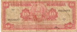 BILLETE DE NICARAGUA DE 10 CORDOBAS DEL AÑO 1962 (BANKNOTE)  RARO - Nicaragua