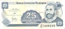 BILLETE DE NICARAGUA DE 25 CENTAVO DE CORDOBA   SIN CIRCULAR-UNCIRCULATED   (BANKNOTE) - Nicaragua