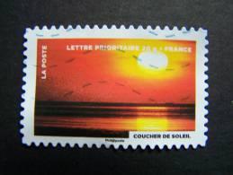 FRANCE OBLITERE 2012 N° 761   COUCHER DE SOLEIL FETE DU TIMBRE: LE FEU SERIE DU CARNET AUTOCOLLANT ADHESIF - France