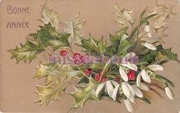 Tres Belle Cpa Gauffrée - Fleurs De Houx - Flowers Of Holly Embosed -  Carte Vierge - Nouvel An