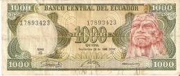 BILLETE DE ECUADOR DE 1000 SUCRES DEL AÑO 1986 (BANKNOTE) - Ecuador
