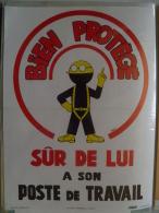 Affiche SNCF De Sécurité - 14 - Bien Protegé; Sur De Lui à Son Poste De Travail - Transport