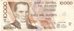 BILLETE DE ECUADOR DE 10000 SUCRES DEL 30 DE JULIO DEL 1988 (BANKNOTE) - Ecuador