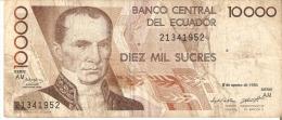 BILLETE DE ECUADOR DE 10000 SUCRES DEL 8 DE AGOSTO DEL 1995 (BANKNOTE) - Ecuador