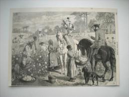 GRAVURE 1864. RECOLTE DU COTON DANS LES PROVINCES DES Etats-Unis DU SUD. - Stiche & Gravuren