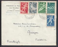 PAYS-BAS - 1948 -  LETTRE DE L'EMBASSADE DE FRANCE AUX PAYS-BAS A DESTINATION DE QUIMPER - FR - - Briefe U. Dokumente