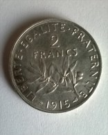 2 Francs 1915 - Semeuse - Argent - Superbe -