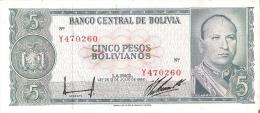 BILLETE DE BOLIVIA DE 5 PESOS BOLIVIANOS DEL AÑO 1962 (BANKNOTE) - Bolivia