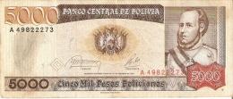 BILLETE DE BOLIVIA DE 5000 PESOS BOLIVIANOS DEL AÑO 1984 (BANKNOTE) - Bolivia