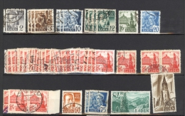 Allemagne - Zone Française,  Bade, Série 1947/8 Obl Entre Nr 1 Et 13 - Zone Française