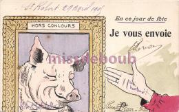 Illustration, Jour De Fête Du Cochon Hors Concours 1905 - Feast Day Of The Pig Outside The Competition - Cochons