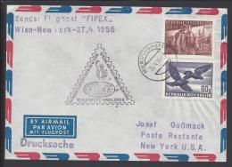AUTRICHE -1956 -  VOL SPECIAL FIPEX DE VIENNE POUR NEW YORK - - 1945-60 Covers