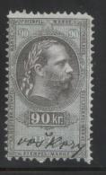 AUSTRIA 1875 EMPEROR FRANZ-JOZEF 90KR REVENUE ERLER 115 PERF 10.75 X 10.75 - Fiscaux