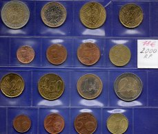 EURO Frankreich Set 2000 Prägeanstalt Paris Stg. 23€ Im Stempelglanz Der Staatlichen Münze 1C.-2€ With 8 Coins Of FRANCE - Francia