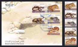 United Arab Emirates 2012 ( Desert Snakes In The U.A.E. ) - Complete Set & FDC - MNH (**) - Slangen