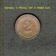 GERMANY    2  PFENNIG  1961 G   (KM # 106) - [ 7] 1949-… : FRG - Fed. Rep. Germany