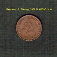 GERMANY    2  PFENNIG  1970 D   (KM # 106a) - [ 7] 1949-… : FRG - Fed. Rep. Germany