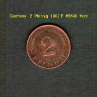 GERMANY    2  PFENNIG  1992 F   (KM # 106a) - [ 7] 1949-… : FRG - Fed. Rep. Germany