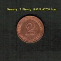 GERMANY    2  PFENNIG  1992 G   (KM # 106a) - [ 7] 1949-… : FRG - Fed. Rep. Germany