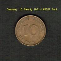 GERMANY    10  PFENNIG  1971 J (KM # 108) - 10 Pfennig