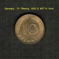 GERMANY    10  PFENNIG  1992 G  (KM # 108) - 10 Pfennig