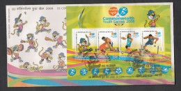 INDIA, 2008,  FDC,  III Commonwealth Youth Games, Miniature Sheet,   Jabalpur  Cancellation - FDC
