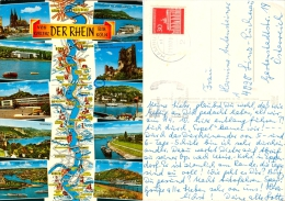 AK Schiff Der Rhein Von Koblenz Bis Köln Landkarte Remagen Neuwied Drachenfels Königswinter Linz Bad Godesberg Bonn - Landkarten