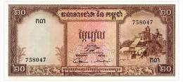 CAMBODIA 20 RIELS ND(1956-75) Pick 5d Unc - Cambodia
