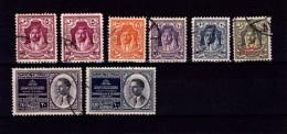 V] 8 Timbres Oblitérés Cancelled Stamps Jordan Jordanie King Roi Hashemite + Surchargé Overprint Palestine - Jordanie