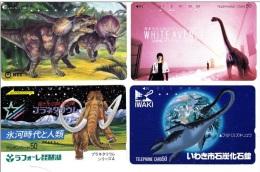 Y] 4 Télécartes Japon Japan Phonecards Faune Préhistorique Prehistoric Fauna - Télécartes