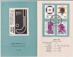 Stamped Information On Olympic Games 1976, Hockey, Athletics, Shortput. Symbol, Sport, India - Hockey (Field)