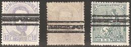 ESPAÑA 1872/73 - Edifil #121S,122S Y 123S - Barrados - 1872-73 Reino: Amadeo I