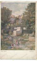 Am Weher, Josef Suss, Children In The River, Old Postcard - Suess, Josef