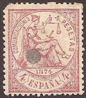 ESPAÑA 1874 - Edifil #151T Taladrado - 1873-74 Regencia