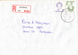 Nederland - Aangetekend/Recommandé Brief Vertrek Schiedam - Aantekenstrookje Schiedam 4689 - Poststempels/ Marcofilie