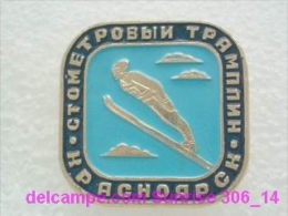 Sport: Skiing Jump Of Ski Jump 100 Meters Springboard Krasnoyrsk / Old Soviet Badge _306_4957 - Winter Sports
