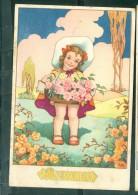 Illustration Signée M.B. -  FILLETTE VENDANT DES ROSES , Bouquetière , Bonne Fête    - Dam15 - Andere Illustrators