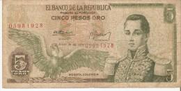 BILLETE DE COLOMBIA DE 5 PESOS ORO DEL AÑO 1974  CALIDAD RC  (BANK NOTE) - Colombia
