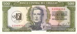 BILLETE DE URUGUAY DE 500 PESOS DEL AÑO 1975 CON RESELLO   (BANK NOTE) - Uruguay