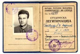 Student Identity Card,Skopje,Historical Document,Diplômes & Bulletins Scolaires - Diplome Und Schulzeugnisse