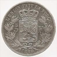 LEOPOLD I * 5 Frank 1849 * Grote 9 * Blootshoofds * Nr 4887 - 1831-1865: Léopold I
